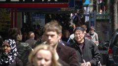Crowded sidewalk on Queen Street Stock Footage
