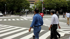 Intersection and crosswalk in Yokohama Stock Footage