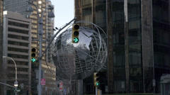 Columbus Circle Globe Statue in NYC Stock Footage