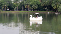Family riding duck boat on lake in natural park Stock Footage