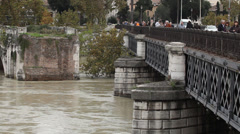 People on the bridge, Rome, Italy, Tiber, wide Stock Footage