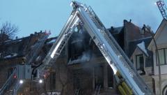 Firemen in Rosenbauer T-Rex Nacelle Basket Stock Footage
