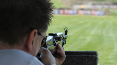 Practice at the rifle range. CU. Stock Footage