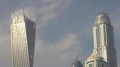 Dubai Marina district area skyscraper tower building blue sky residential block  Stock Footage