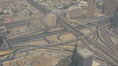 Aerial view panoramic highway traffic car street freeway Sheikh Zayed Road Dubai Stock Footage
