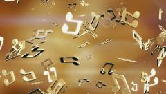 Golden music notes. Looping. Stock Footage