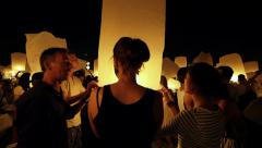 Loy Krathong Festival, Tourists Releasing Floating Lantern, Chiang Mai, Thailand Stock Footage