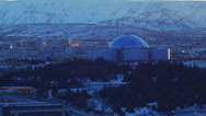 Stock Video Footage of Reykjavik Perlan on a hill