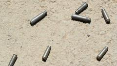 Shell casings. Handheld shot. - stock footage