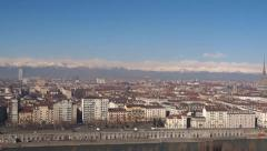 Stock Video Footage of Skyline of the city of Turin in Italy seen from the hill