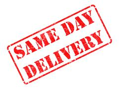 Same Day Delivery on Red Rubber Stamp. Stock Illustration