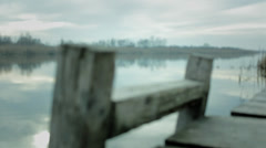 Waterscape. Wooden dock ladder Stock Footage