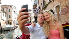 Couple in Venice on Gondole ride romance Stock Footage