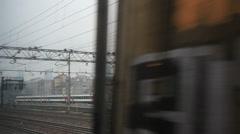 Leaving Milan train station on bleak day (Eurostar trains on platform) Stock Footage