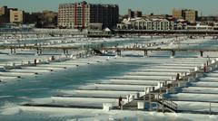 Frozen port - stock photo
