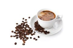 cup of black coffee with roasted coffe beans 2 - stock photo