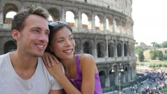 Couple in Rome by Coliseum on travel Stock Footage