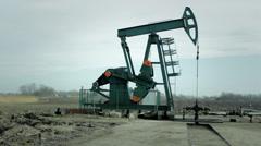 Pump jack. Oil pump. 2 Stock Footage