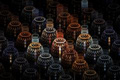 Colourful Lamps Abstract Fractal Design Stock Illustration
