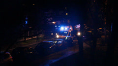 View from the window on the ambulance with flashing blue lights 4 Stock Footage