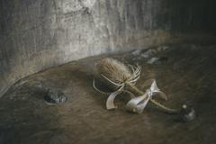 Stock Photo of Dried Thistle Flowers Tied with Satin Ribbon on Antique Wood Surface