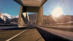 onboard car view. driving drive. road street. motion moving. futuristic - stock footage