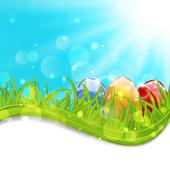 April card with easter set colorful eggs Stock Illustration