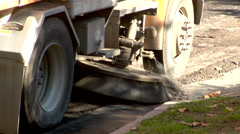 Process of urban street cleaning. Municipal machanical truck Stock Footage