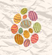 Stock Illustration of set easter eggs, vintage celebration background