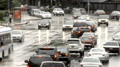 Los Angeles Traffic in the Rain Stock Footage