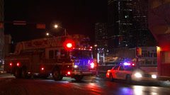 Police car and Firetruck Stock Footage