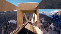 Modern futuristic architecture. bridge road street. aerial view. landscape Stock Footage