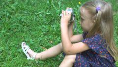 Photographer Child Taking Pictures in Park, Tourist Girl Photographing, Children Stock Footage