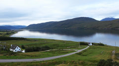 A quiet morning view over Ullapool in Scotland Stock Footage