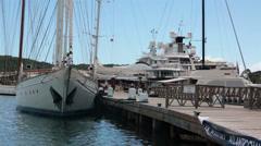 Nelsons Dock marina Antigua luxury sailboats yachts HD 1191 Stock Footage