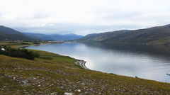 A quiet morning view overlooking Ullapool, Scotland Stock Footage