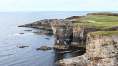 The Castle of Yesnaby, Orkney, Scotland Stock Footage