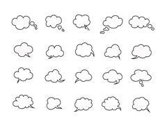 clouds speak bubbles - stock illustration