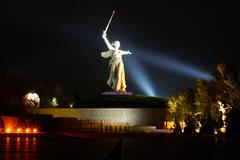 monument to motherland in volgograd at nights - stock photo