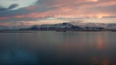 Reykjavik Bay Cargo Ships Mt. Esja Stock Footage