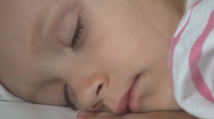 Sleeping Child, Tired Sleepy Little Girl Face Dreaming, Children Nap in Bedroom Stock Footage