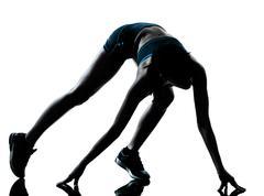 Nainen juoksija jogger siluetti Kuvituskuvat