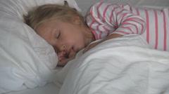 Sleeping Child in Bedroom, Sleepy Little Girl Sucking Thumb, Habits of Children Stock Footage