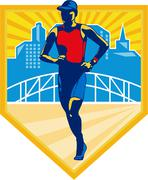 Triathlete marathon runner retro Stock Illustration