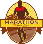 marathon classic run retro - stock illustration