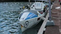 Stock Video Footage of Row boat Atlantic crossing challenger Antigua Island HD 1189