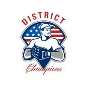 baseball district champions retro. - stock illustration