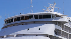 Small cruise ship pilot wheel house Stock Footage