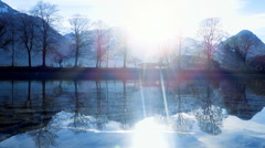 Landscape panorama. lake river pond. nature trees. water reflection Stock Footage