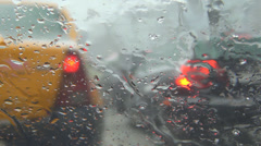 Driver Driving on Blizzard Snowstorm, Heavy Slowed Traffic, Snowing in Winter Stock Footage